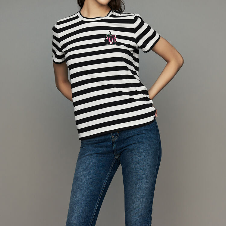 Tee-shirt en coton rayé avec écusson : Urban couleur Rayure