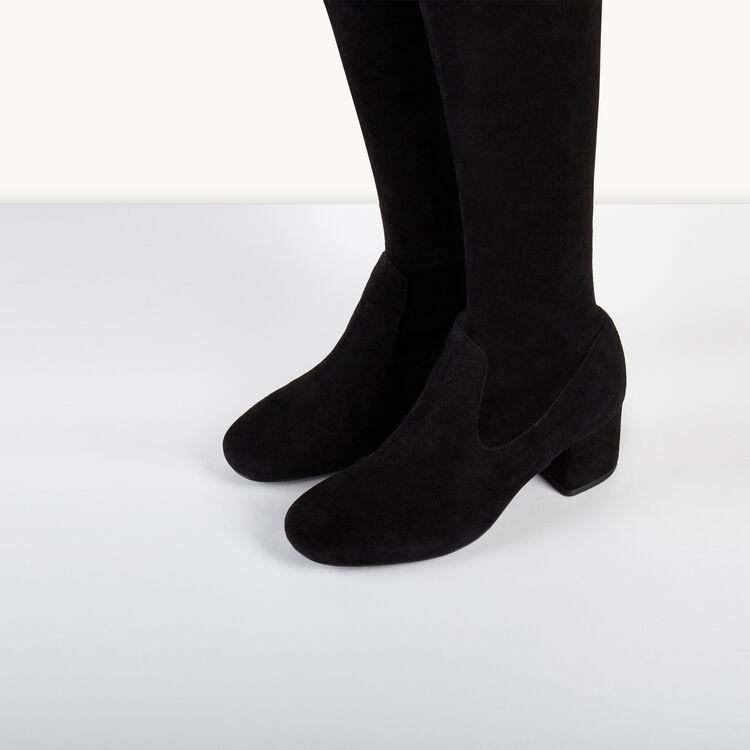 Cuissardes en cuir velours : Accessoires couleur Black