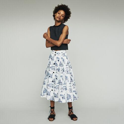 Jupe midi à imprimé Paris : Jupes & Shorts couleur ECRU