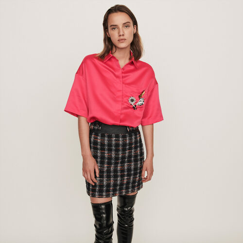 Chemise en satin à bijoux sur la poche : Tops & Chemises couleur Rose