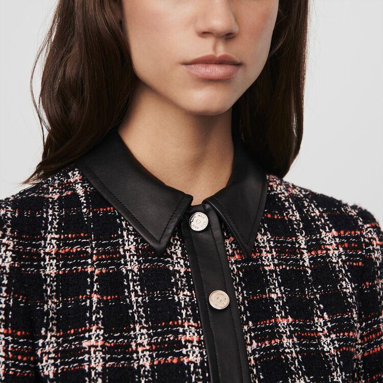 Robe contrastée façon tweed : Robes couleur Noir
