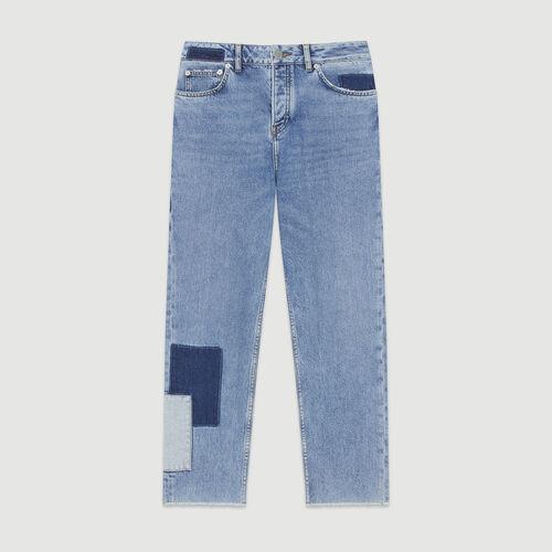 Jean droit avecempiècements contrastés : Jeans couleur BLEU