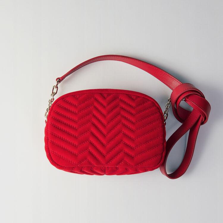 Sac porté épaule en velours matelassé : Sac Sami couleur Rouge