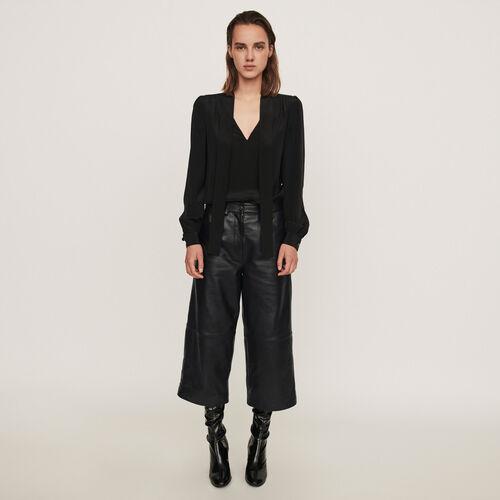 Pantalon façon bermuda en cuir : Collection hiver couleur Noir