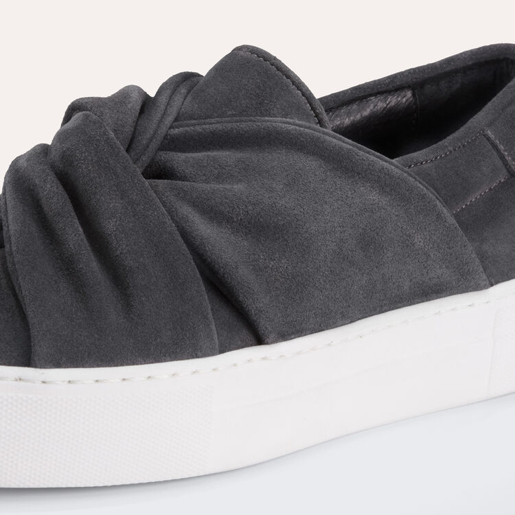 Baskets en suède avec noeud : Chaussures couleur GRIS