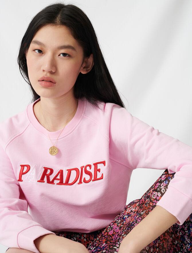 Sweat-shirt moelleux brodé Paradise - Pulls & Cardigans - MAJE