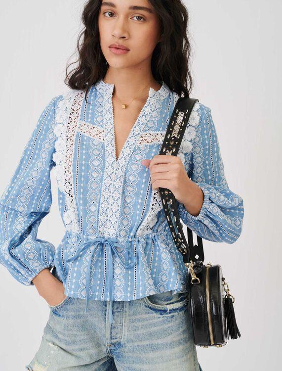 Top contrasté de galons - Tops & Chemises - MAJE