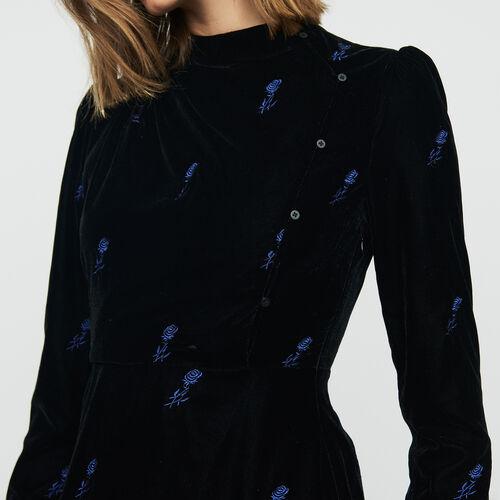 Robe à manches longues en velours brodé : Robes couleur Black