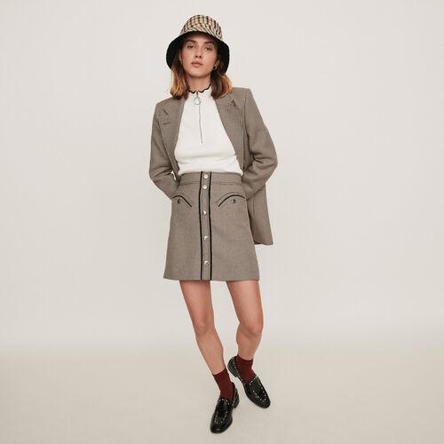 Jupe droite à carreaux : Jupes & Shorts couleur Camel
