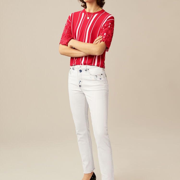 Jean droit avec détails contrastés : Jeans couleur Blanc