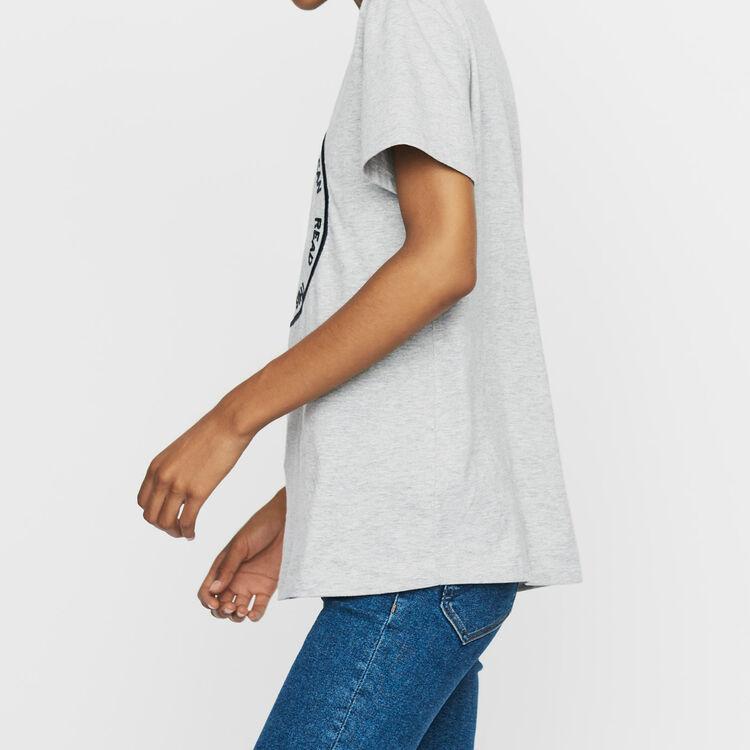 Tee-shirt en coton avec broderie : T-Shirts couleur Gris