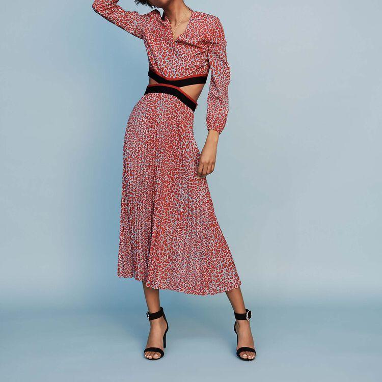 Robe longue plissée à imprimé : Nouvelle Collection couleur IMPRIME