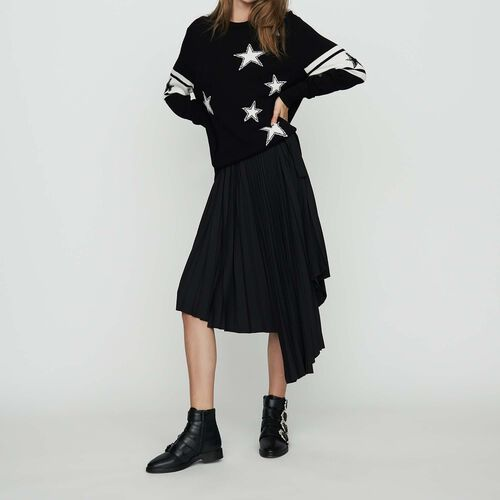 Pull oversize en maille bicolore : Maille couleur Black