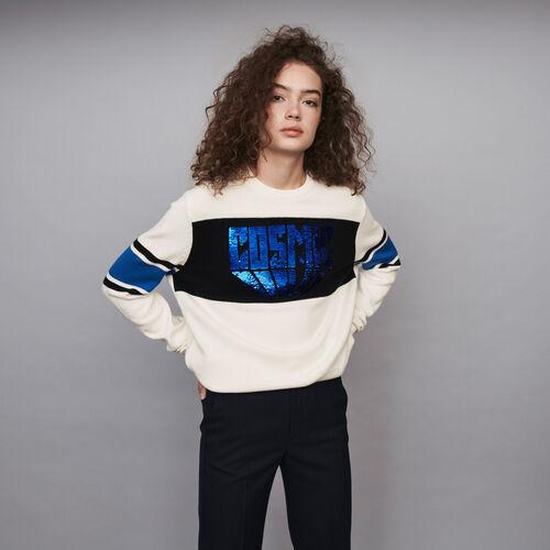 Pull avec détails contrastés et sequins : Pulls & Cardigans couleur ECRU