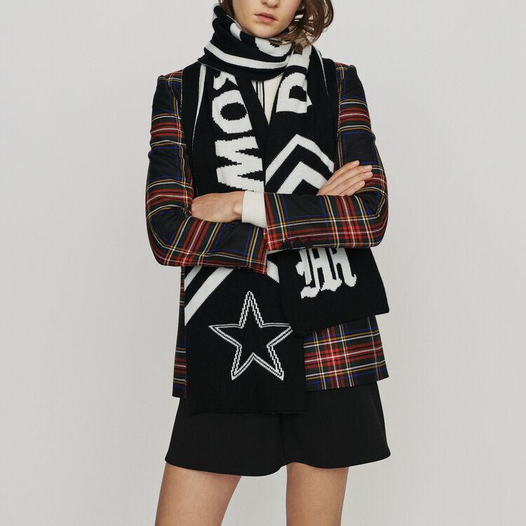 Echarpe avec inscription contrastée : Châles & Ponchos couleur Black