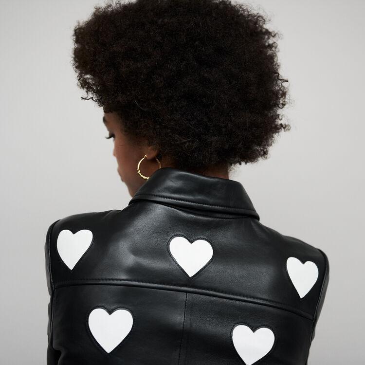 Blouson court en cuir avec cœurs : null couleur Black
