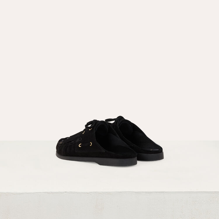 Mules en suède et franges amovibles : Chaussures plates couleur BLACK