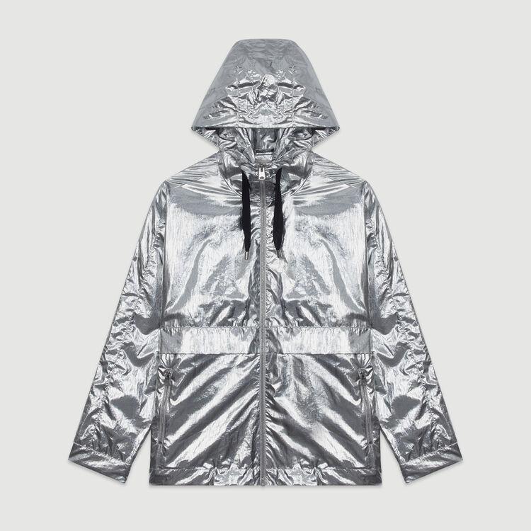 Manteaucoupe-vent à capuche : Blousons couleur Argent