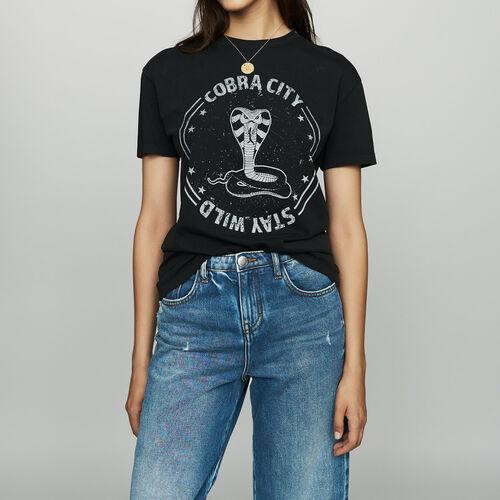 Tee-shirt imprimé en coton : T-Shirts couleur Black