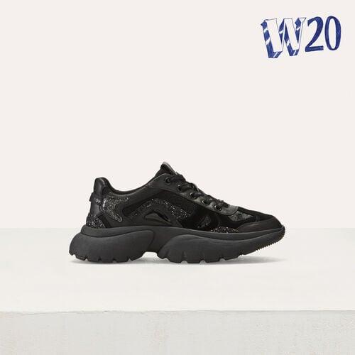 Sneakers W20 urbaines en cuir : Sneakers couleur BLACK