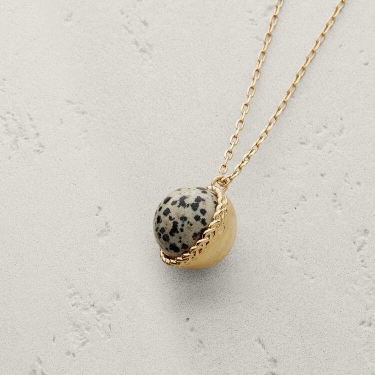 Collier long avec pendentif en pierre : Bijoux couleur BLANC CASSE
