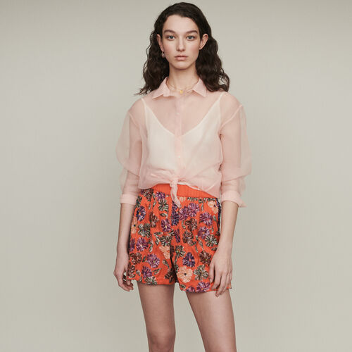 Short brodé de sequins : Jupes & Shorts couleur Corail