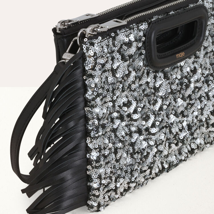 Pochette M Duo en sequins et cuir : M Duo couleur Black