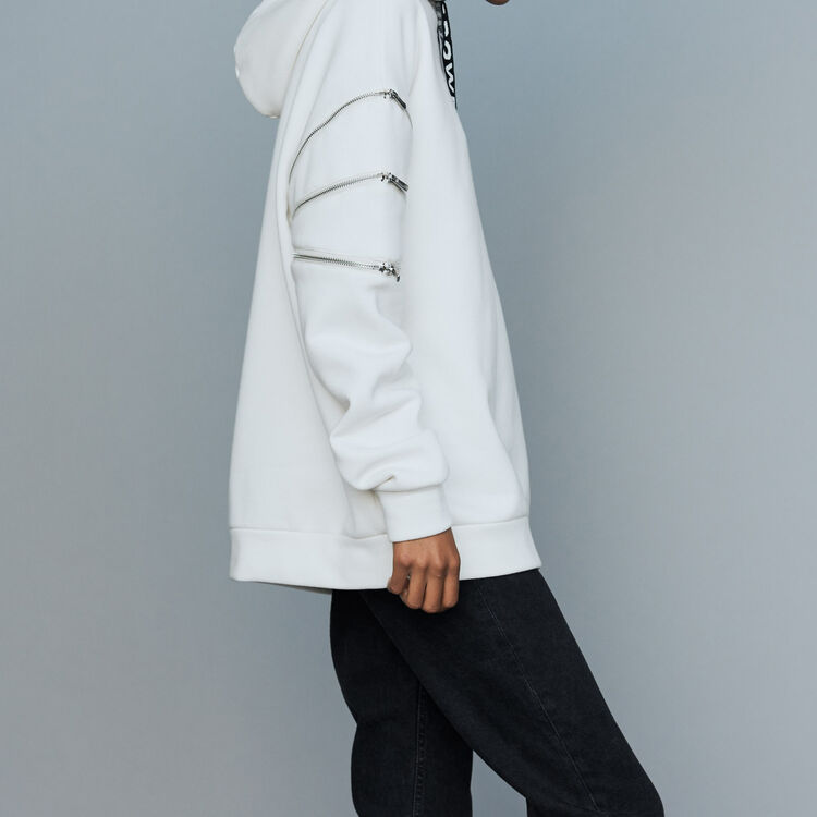 Sweat-shirt à capuche avec multi-zips : Sweats couleur Blanc