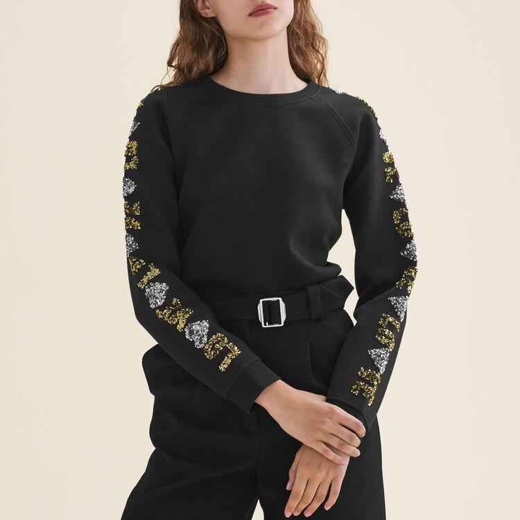 Sweat-shirt avec sequins : Maille couleur Black