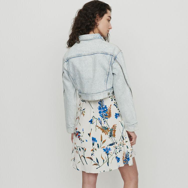 Veste courte en jean délavé : Vestes couleur Denim