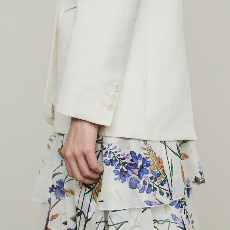 Veste de tailleur en lin mélangé : Vestes couleur Blanc
