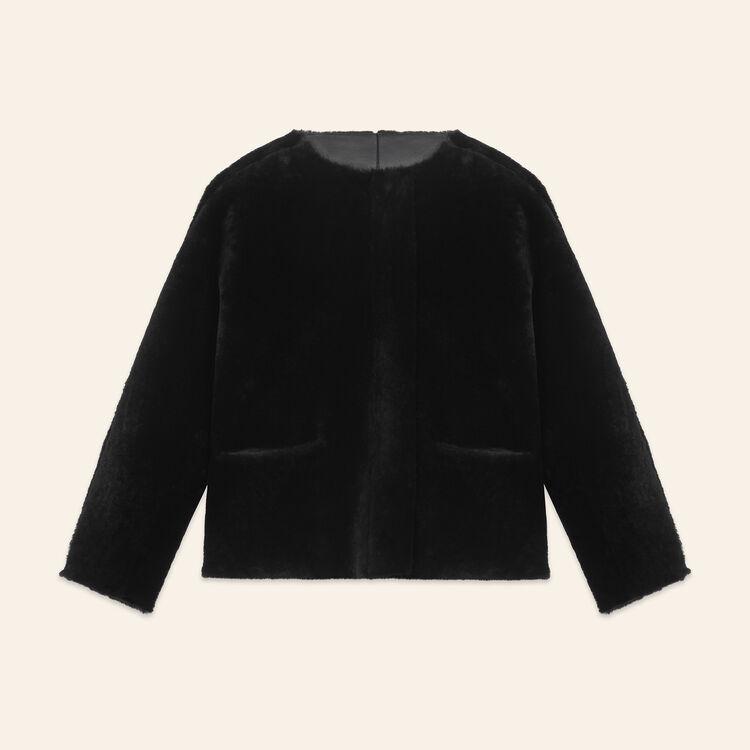 Blouson réversible en peau lainée : Manteaux couleur Beige