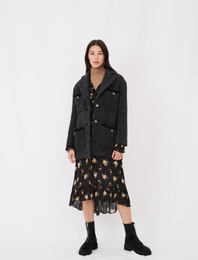 Manteau façon tweed à martingale - Manteaux & Blousons - MAJE