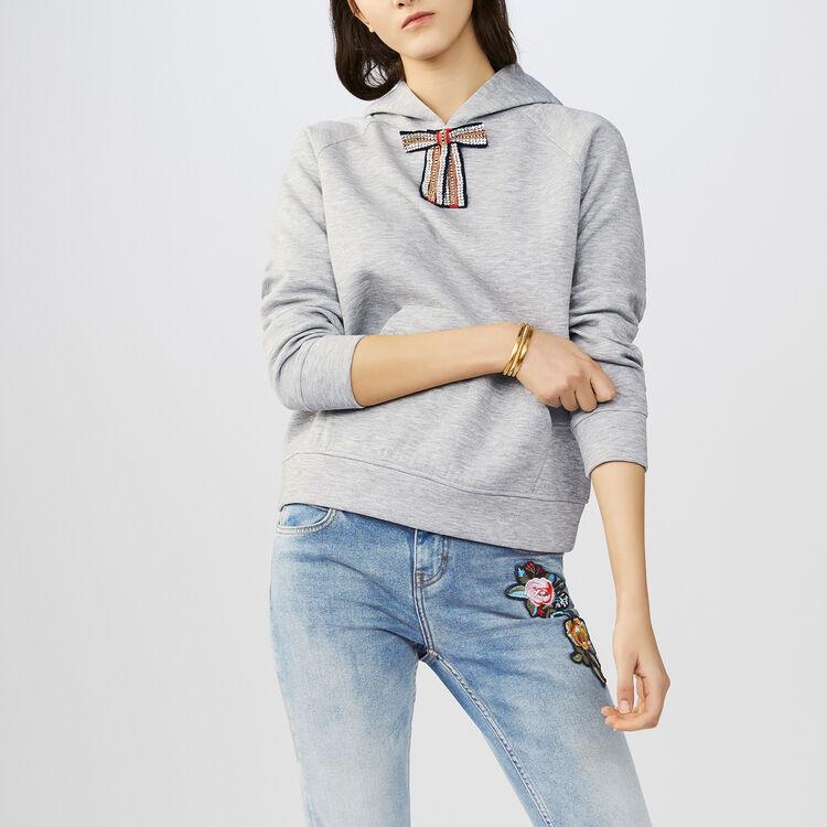 Sweat-shirt avec nœud amovible : Maille couleur Gris