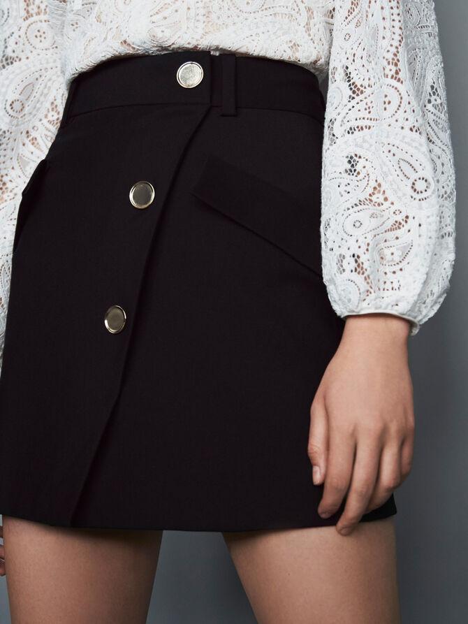 Jupe en crêpe à boutons contrastés - Jupes & Shorts - MAJE