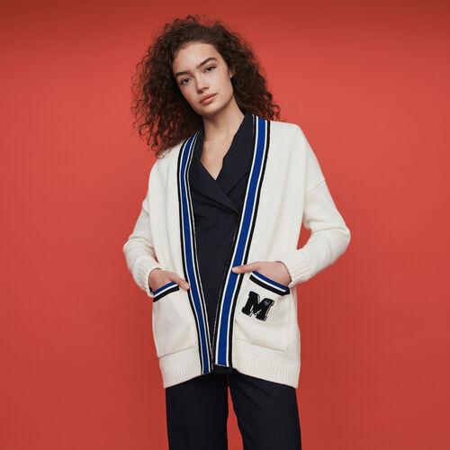 Cardigan à bandes contrastées et brodé : Pulls & Cardigans couleur ECRU