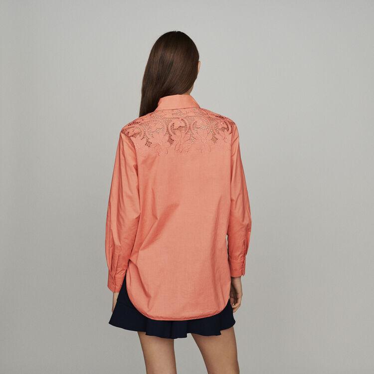 Chemise avec guipure : Tops & Chemises couleur CORAIL