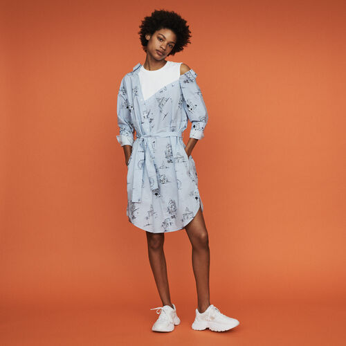 Robe-chemise imprimé Paris : Robes couleur Bleu