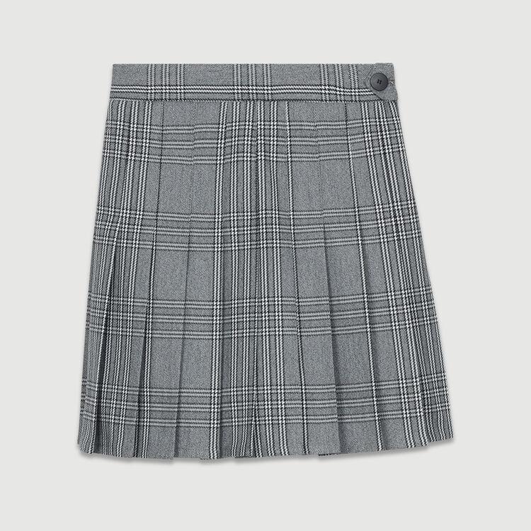 Short trompe-l'œil plissé en jacquard : Jupes & Shorts couleur CARREAUX