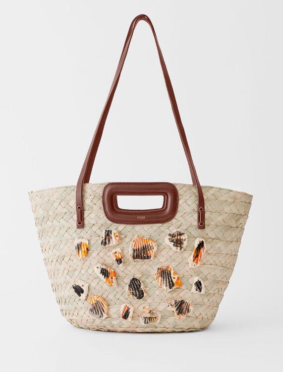 Panier tressé à détails en céramique - Tous les sacs - MAJE