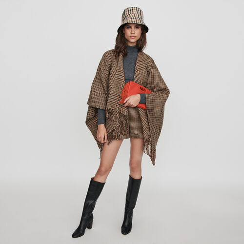 Short à carreaux avec plis et revers : Jupes & Shorts couleur Marron