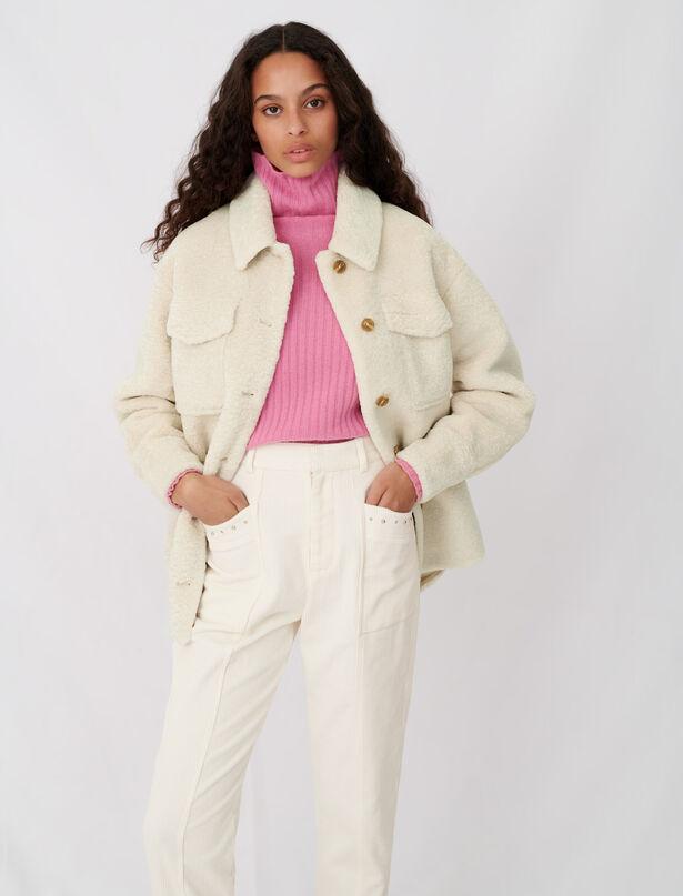 마쥬에코 시어링 셔츠 자켓 - 아이보리 ('런온' 신세경 착용) MAJE 120BALERIO Surchemise effet fourrure