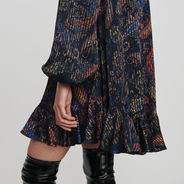 Robe façon babydoll en jacquard imprimé : Robes couleur Marine