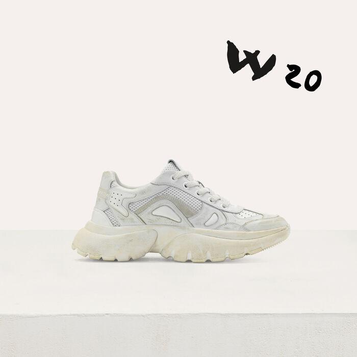 Sneakers W20 urbaines en cuir effet usé : Sneakers couleur Blanc