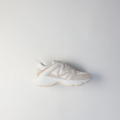 Sneakers W22 en mix matières : Sneakers couleur Off White