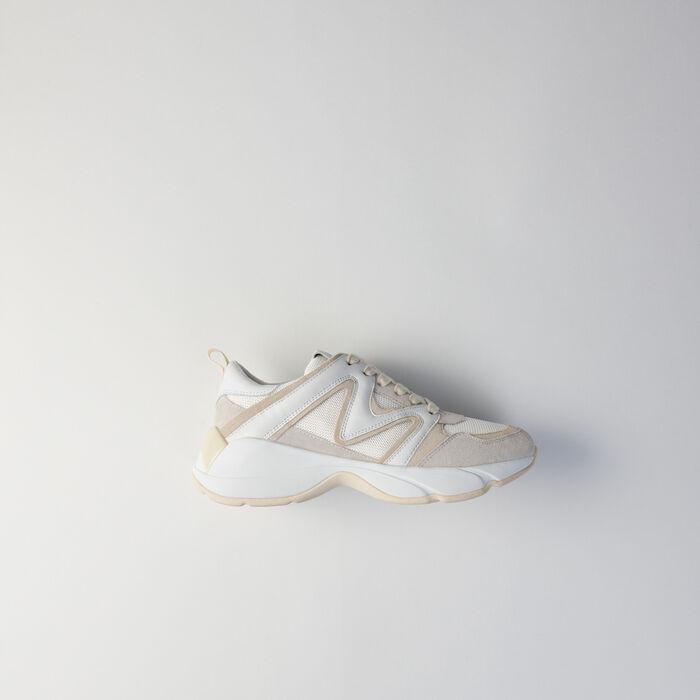 Sneakers W22 en mix matières : Sneakers couleur Off White