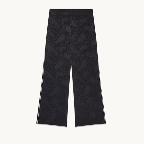 Pantalon large avec imprimé brocart - null - MAJE