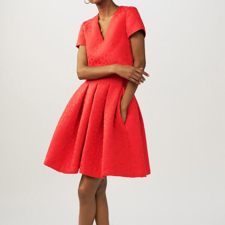Robe en jacquard à motifs léopard : Robes couleur Rouge