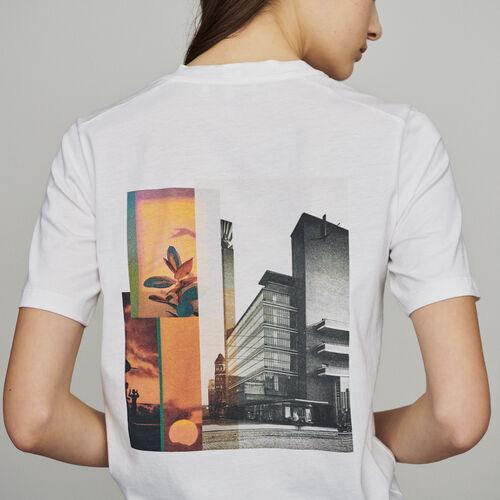 Tee-shirt à message et imprimé au dos : T-Shirts couleur Blanc