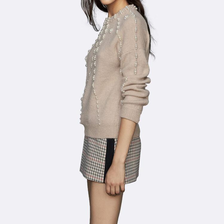 Pull oversize en laine mélangée : Maille couleur Beige